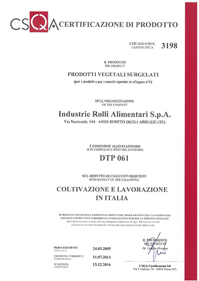 CERTIFICATION GROWING AND PROCESSING IN ITALY